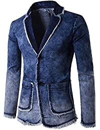 db84e93cf31a6 Runyue Giacca in Denim da Uomo Giacche di Jeans Blazer Slim Fit Cappotto  Jacket Outwear
