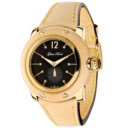 Glam Rock Femmes GR40009 Palm Beach Diamond Collection de montre en cuir beige accentués