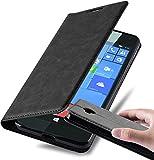 Cadorabo Hülle für Nokia Lumia 650 - Hülle in Nacht SCHWARZ – Handyhülle mit Magnetverschluss, Standfunktion und Kartenfach - Case Cover Schutzhülle Etui Tasche Book Klapp Style