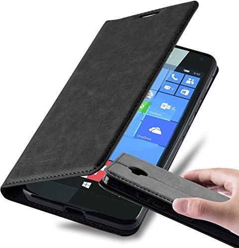 Cadorabo Hülle für Nokia Lumia 650 - Hülle in Nacht SCHWARZ - Handyhülle mit Magnetverschluss, Standfunktion & Kartenfach - Case Cover Schutzhülle Etui Tasche Book Klapp Style