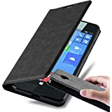 Cadorabo - Funda Book Style Cuero Sintético en Diseño Libro Nokia Lumia 650 - Etui Case Cover Carcasa Caja Protección con Imán Invisible en NEGRO-ANTRACITA