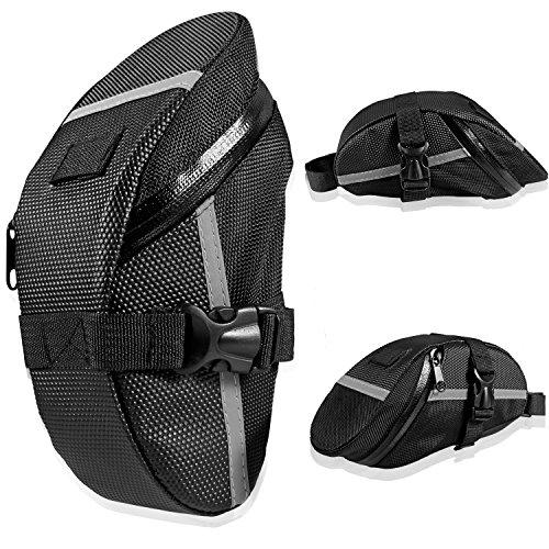 Fahrrad Satteltasche, Ubegood Kompakte Fahrradtasche Befestigungsriemen Aero Wedge Pack Satteltasche Mountainbike Bag für Handy, Werkzeug und Portmonnaie - Schwarz - 2