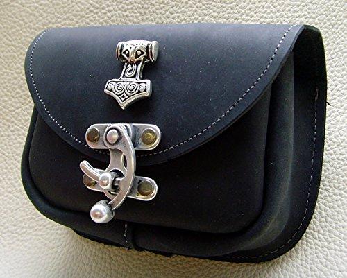 Gürteltasche kleiner Thors Hammer Leder Farbe schwarz - 2