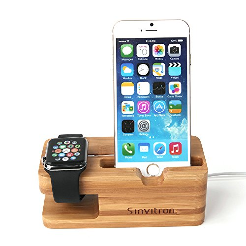 Sinvitron 2 In 1 New Stylish Wood Docking Station Holder Charging Stand for Apple Watch + Mobile Phone Stand for iPhoe
