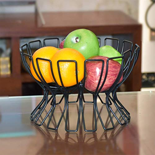 AOLI Obstschalen Eisen Familie Obstkorb, Kreative Obstteller Candy Bowl Snack Teller Obstschalen Obstständer,Schwarz Fruit Bowl Candy