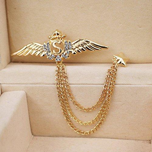 WINOMO Flügel Sterne Brosche am Revers Pin Anzug Hemd Corsage Halsband Kette Brosche (Gold) (Flügel Pin)