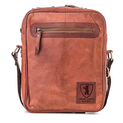Schultertasche Berliner Bags Boston Umhängetasche Handtasche Reisetasche Wasserdicht Vintage-Look echt Leder klein mittel braun Herren M S