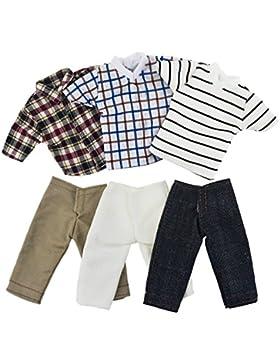 ASIV 3 juegos de ropa casual para Barbie novio Ken muñecas, incl. 3 Pz Muchacho Camisetas y 3 Pz Pantalones vaqueros...