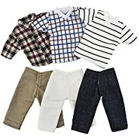 Asiv Handmade 3 Pcs Boy Short Shirts, 3 Pair of Jeans Pants Casual Clothes for Ken Dolls, Random style