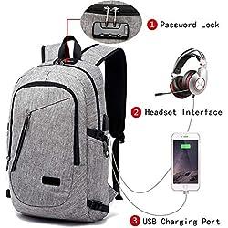 Mochila para portátil elegante, FLYMEI para ordenador de 15.6 pulgadas, mochila escolar, mochila para hombres y mujeres con sistema antirrobo, puerto de carga USB y entrada de auriculares (Koffee).