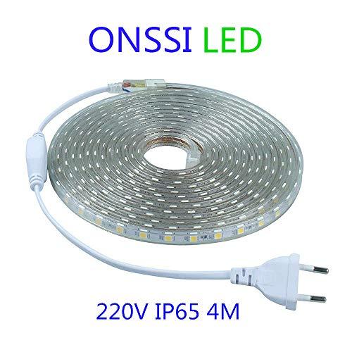 Tiras LED Smd5050 60 Led/m 220v (4 Metros) 6000k Luz Fría Ip65 Impermeable Con Enchufe ONSSI LED