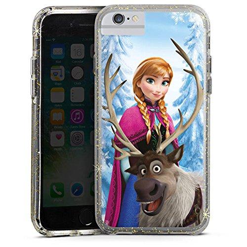 Apple iPhone 7 Bumper Hülle Bumper Case Glitzer Hülle Disney Frozen Anna & SVen Fanartikel Geschenke Bumper Case Glitzer gold