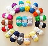 HdK-Versand 20x 50 g Cotton Fun Häkelgarn, alle Farben wie abgebildet inkl. 1 Gratis Mützenlabel von HdK-Versand