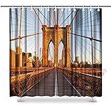 Brooklyn Bridge New York City Tessuto Bagno Tenda da Doccia Set 3D Effetto Eco-Friendly Bagno Decorativo Anti-Batterica Casa-150(H) X180(W)