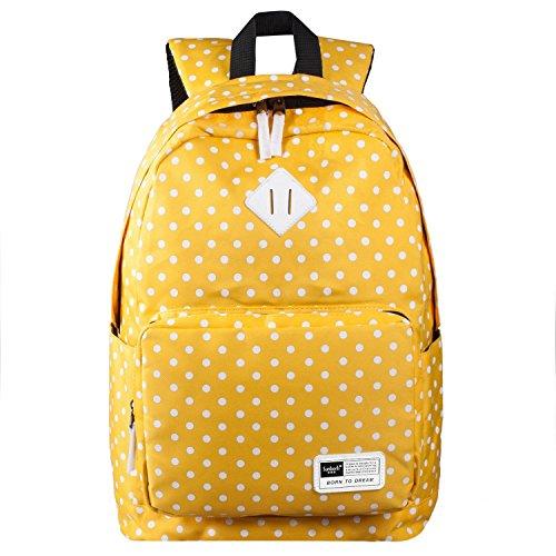 S-ZONE Leichte L?ssige Daypack Oxford Fabric Polka PunktRucksack 14 Zoll (gelb) (Rei Reise-sack)
