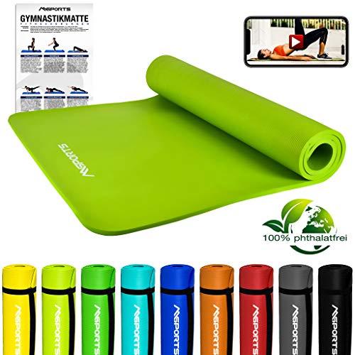 MSPORTS Gymnastikmatte Premium inkl. Tragegurt + Übungsposter + Workout App GRATIS I Fitnessmatte Lindengrün - 190 x 100 x 1,5 cm Hautfreundliche Phthalatfreie Yogamatte