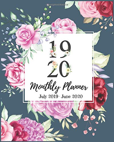 Monthly Planner: Pink Rose Floral PlannerS, 2019-2020 Daily Planner Agenda Schedule Organizer Logbook and Journal Personal, 12 Months Calendar ... Pretty Monthly Calendar Planners, Band 13) - Rose Floral Wasser