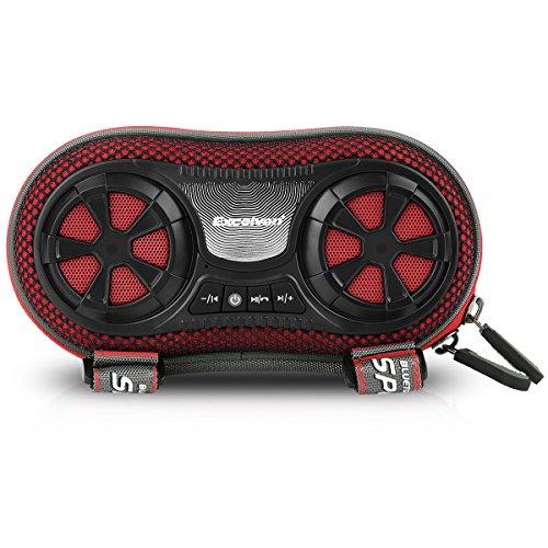 EXCELVAN Outdoor Wireless Bluetooth Lautsprecher Fahrrad Speaker Box mit Freisprechen wiederaufladbaren 4400 mAh Powerbank Kompatibel mit Smartphones iPhone iPad Tablets iPods MP3 MP4 Rot