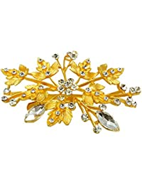Mansiyaorange Metal Work Floral Funky Designer Latest Golden Sidepin/ Hair Accessory/Hair Comb/Hair Clip/Hair...