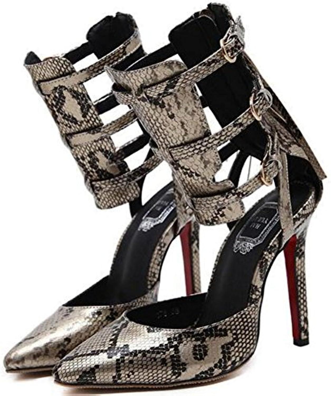 GAOLIXIA Zapatos de Tacón Alto para Mujeres Sandalias de Moda en Serpentina de Verano Zapatos Salvajes Amarillo...