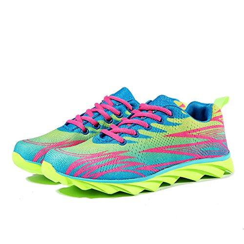 Herren Damen Erwachsene Sneakers Turnschuhe Freizeitschuhe Laufschuhe Sportschuhe fluoreszierend grün