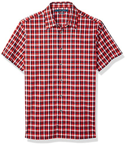 Perry Ellis Herren Check Stretch Short Sleeve Shirt Hemd, Black-4emw7062, Klein (Sleeve Shirt Dress Red Short)