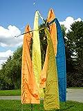 DEKOVALENZ - Gartenfahnen-Stoff DENPASAR mit Herz-Spitze, Versch. Farben+Längen, Fahnenlänge:3 Meter, Farbe:goldbronze