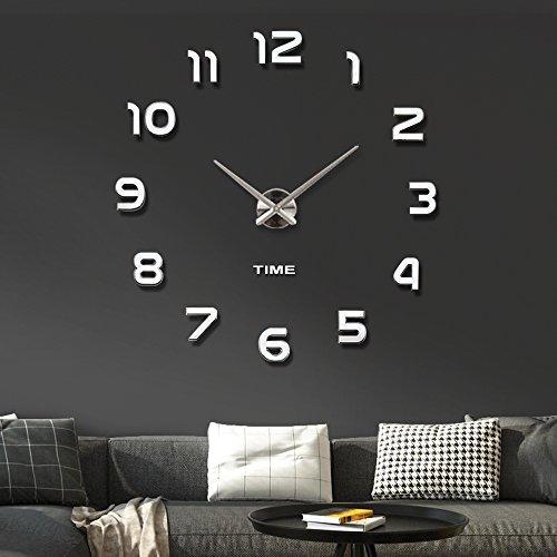 Muto frameless grande orologio a muro 3d specchio adesivo-2 anni di garanzia (argento-42)