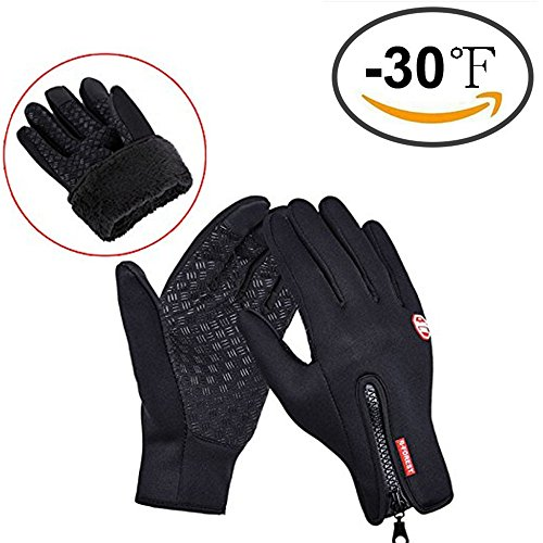 Winter Gloves, Cotop Thick with Fleece Sports Outdoor Women's and Men's Warmer Touchscreen Gloves with Zipper for Smart Phone(Black,M)