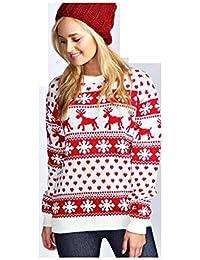 Rentier Schneeflocken Weihnachten Pullover für Frauen Pullover (SNOE Flakes Cream, M)