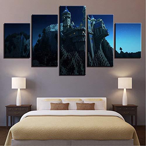 rucke Bilder Modulare Wohnkultur 5 Stücke Minecraft Burg Gemälde Wandkunst Spiel Poster Für Wohnzimmer 30X40/60/80Cm,No Frame ()