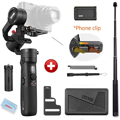Zhiyun Crane M2 3-Axis Gimbals Compatible for Action Camera, Mirrorless Compact Cameras,Smartphones,Payload: 130g - 720g,with Tripod and Extension Rod