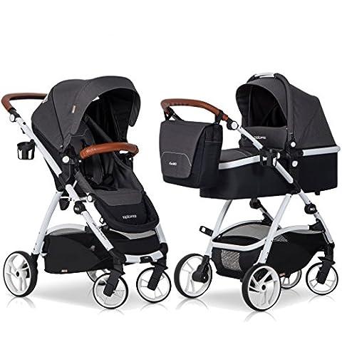 2in1 Kombi Kinderwagen OPTIMO Anthracite Babywanne Buggy Komplettset - Leder & Aluminium Tech