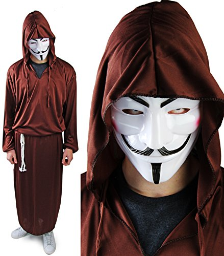 Komplett Halloween Set Reaper Kostüm VENDETTA Maske Robe (Tod Krieger Kostüm)
