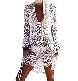 ♪ZEZKT♪Frauen Beachwear Badeanzug Sommer Häkeln Spitze Cover-Up Bluse Tops Strand 2018 Sommer Bedecken Pareos Kimono Cardigan Strandkleid Top Lange Ärmel Beachwear Weiß (One Size, Weiß)