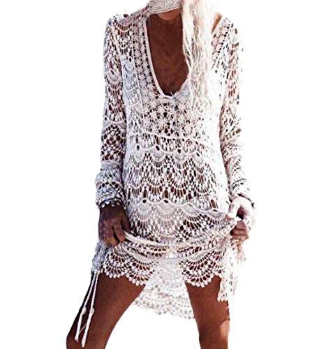 ZEZKT♪Frauen Beachwear Badeanzug Sommer Häkeln Spitze Cover-Up Bluse Tops Strand 2018 Sommer Bedecken Pareos Kimono Cardigan Strandkleid Top Lange Ärmel Beachwear Weiß (One Size, Weiß) -
