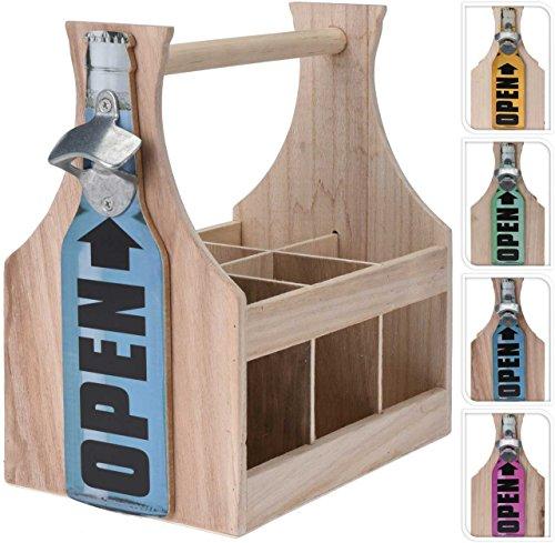 SIDCO ® Flaschenträger mit Flaschenöffner Holz Flaschenhalter Bierträger Flaschenkorb