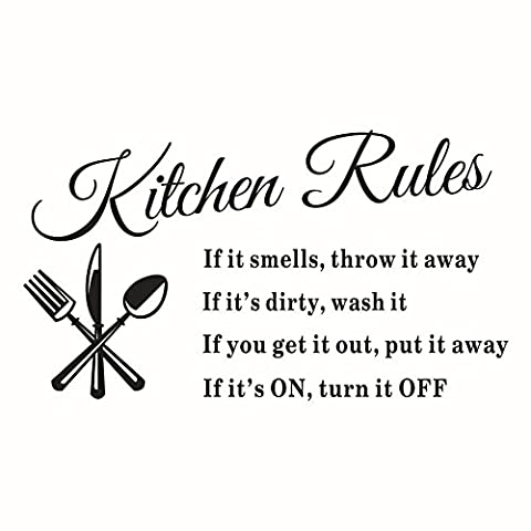Jessie&Letty Kitchen Rules Wall Art Sticker Quote Letters wall stickers Decal Home Decor Hot