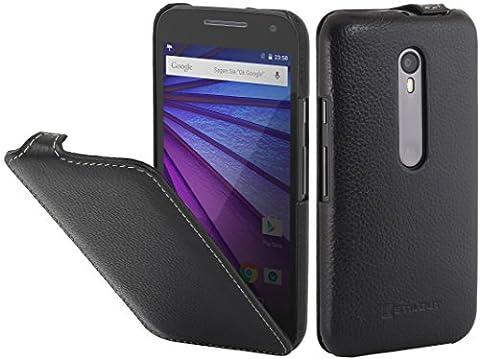 StilGut UltraSlim, housse en cuir pour Motorola Moto G (3e génération), en noir