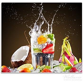 Frische Früchte übergossen Wasser Herdabdeckplatte 2-teilig aus Glas 60x52cm