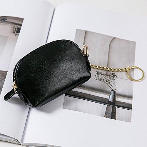 Longra Chiusura lampo tinta unita, piccola borsa e mini portafogli in pelle PU per donna Nero