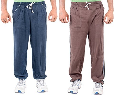 Funky Guys Men's Cotton Track Pant (Pack of 2) (TRACKPANT_C2_BRNB_42_Multi_Large)