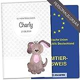 EU-Heimtierausweis Hülle Haustiere Tierausweis Schutzhülle tolle Geschenkidee personalisierbar mit Namen und Geburtsdatum (Charly, EU-Heimtierausweishülle personalisiert)