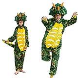 Pigiama Kigurumi Animale Costume per Carnevale, Halloween, Festa, Cosplay Tuta Adulti e Bambini Altezza 178-186cm/XL Dinosauro Verde Scuro