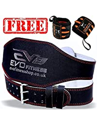 """EVO Fitness 4"""" Pure Leather Gym Belts FREE Weightlifting Straps Wrist Wraps Back Support Bodybuilding"""