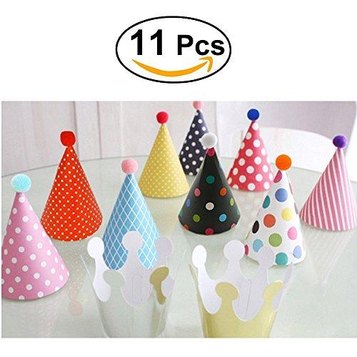 Geburtstag Hüte Kronen Set für Geburtstag Festival Party - 11 PCS