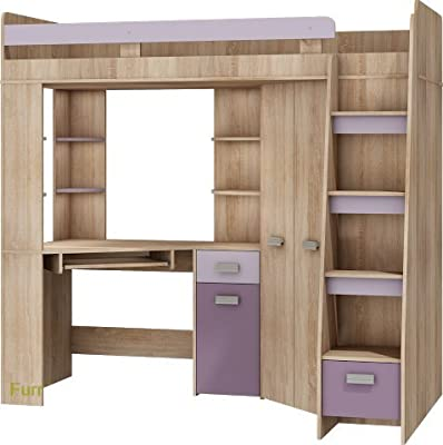 High Sleeper/Bunk Bed/Entresole. ALL IN ONE. Right Hand-side Stairs. Kids/Children Furniture Set. Bed, Wardrobe, Shelves, Desk