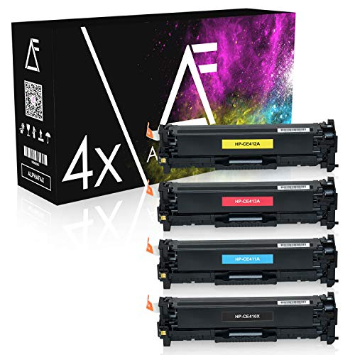 4 Alphafax Toner kompatibel zu HP Laserjet Pro 300 400 Color M351 M451 M475 MFP M375 DN NW DW - CE410X CE411A CE412A CE413A 305A - Schwarz 4.000 Seiten Color je 2.600 Seiten