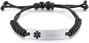 Vnox, braccialetto regolabile con corda in cera intrecciata a mano, in acciaio inox, con targhetta medica di emergenza, per uomini e donne, incisione gratuita