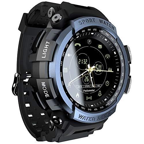 Festnight LOKMAT MK28 Reloj Inteligente Pantalla de 1.14 Pulgadas BT4.0 Vida Calorías podómetro a Prueba de Agua Alarma Deportes Hombre Smartwatch para Android 6.0 / iOS 7.0 y Superior